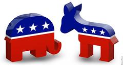 Republican Elephant & Democratic Donkey - 3D Icons