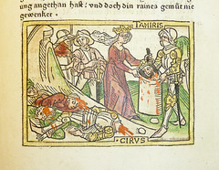 Woodcut illustration of the defeat of Cyrus II...