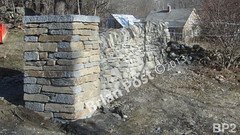 WM Brian Post 2, freestanding wall, column, vertical cope, dry laid stone construction, copyright 2014