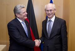 President Van Rompuy shakes hands with Joachim...