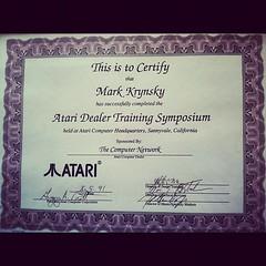 My Atari training certificate & when I met him. RIP Jack Tramiel.