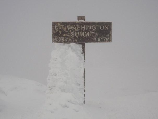 Mt. Washington summit sign in winter