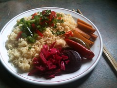 Rice and veg served with mixed pickles