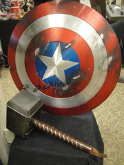 Captain America Prop Auction - Captain America's siheld and Thor's hammer Mjolnir