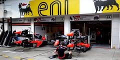 Marussia F1 Team Garage - Thursday Preparations