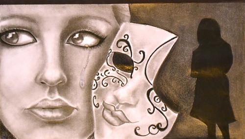 Mask (graphite) - Karlyn, M.E. LaZerte School