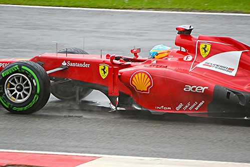 Fernando Alonso in his Ferrari F1 car at Silverstone