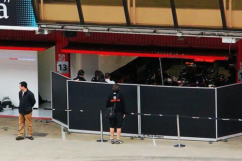 Lewis Hamilton in the McLaren Garage at Formula One Winter Testing, Circuit de Catalunya, March 2012