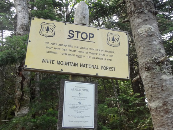 White Mountain National Forest Sign on Mt. Jefferson Castle Trail
