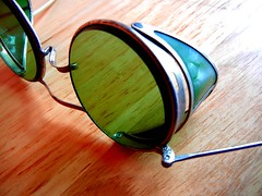 Vintage green glass safety goggles