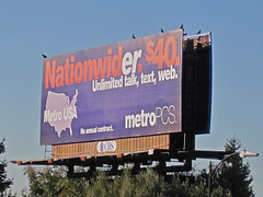 MetroPCS billboard, $40 Unlimited talk, text, web.