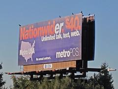 MetroPCS billboard, $40 Unlimited talk, text, web.