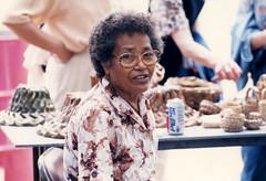 Tan Lucia Torres at Fair Booth, 2001