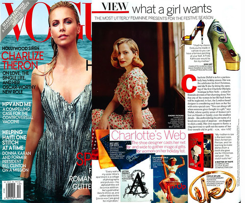 US VOGUE DEC 2011: my hand painted shoes for Charlotte Olympia