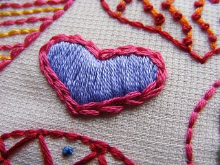 Hearts Sampler Embroidery Pattern detail 1