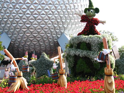 Epcot - Fantasia Topiary Scene - Sorceror's Ap...