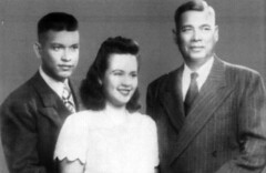 Rosa Perez Salas with Brother and Father, 1947