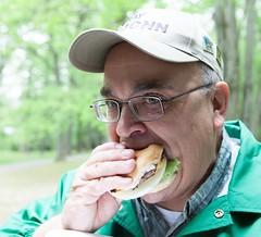 Ray/KJ4CNN enjoys a burger