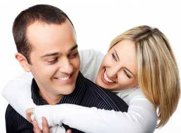 man and lady hugging