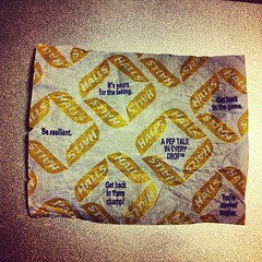 You tell 'em, little Halls cough drop wrapper
