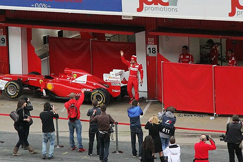Fernando Alonso comes out from his garage after Formula One Winter Testing, Circuit de Catalunya, March 2012