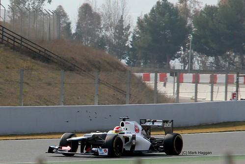 Sergio Perez in his Sauber  in Winter Testing, Circuit de Catalunya, March 2012