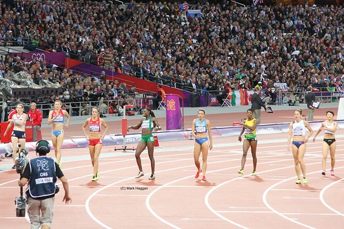 The finish of the semi final of the women's 400m hurdles at the London 2012 Olympics