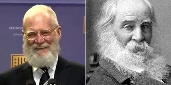 Barbudo, David Letterman diz que foi confundido com poeta morto em 1892