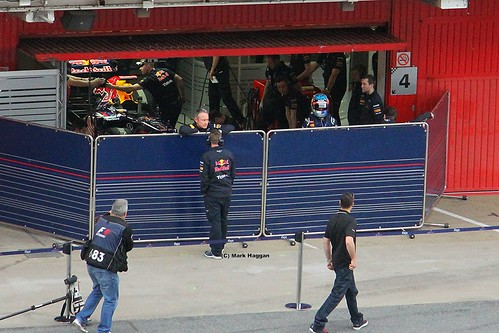 Sebastian Vettel in his pit garage at Formula One Winter Testing, Circuit de Catalunya, March 2012