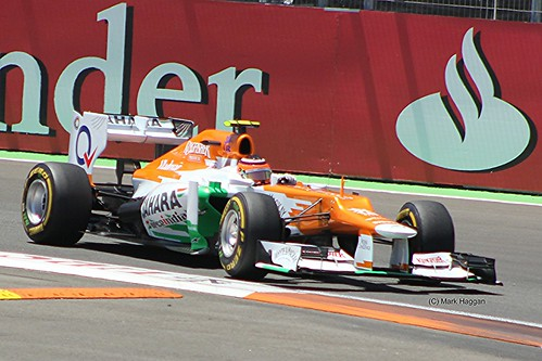 Nico Hulkenberg in his Force India F1 car during the 2012 European Grand Prix in Valencia