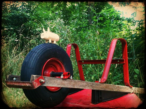 little pig on a red wheelbarrow
