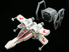 Chibi X-Wing and TIE Fighter