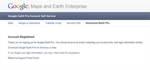 Google Earth Pro Account Registered
