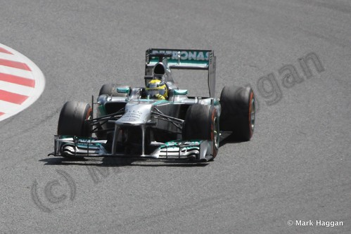Lewis Hamilton in his Mercedes in the 2013 Spanish Grand Prix