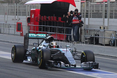 Lewis Hamilton in his Mercedes during Formula One Winter Testing 2015