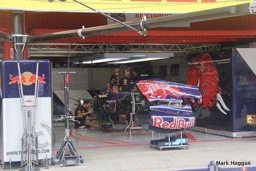 Daniel Ricciardo's Toro Rosso pit garage at the 2013 Spanish Grand Prix