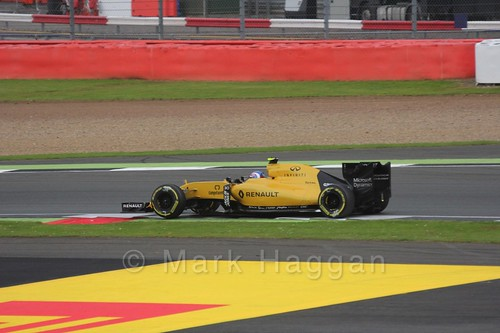 Jolyon Palmer in his Renault in Free Practice 3 at the 2016 British Grand Prix