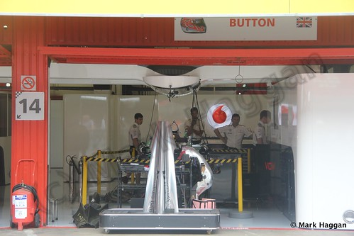Jenson Button's McLaren pit garage at the 2013 Spanish Grand Prix