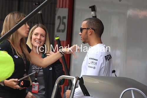 Lewis Hamilton is interviewed at the 2013 Spanish Grand Prix