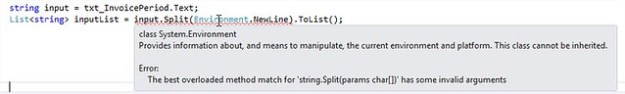 The best overloaded method match for 'string.Split(params char[])' has some invalid arguments