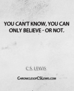''You can't know, you can only believe - or no...