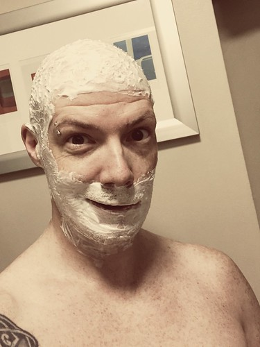 Today is all about...finally shaving the noggin