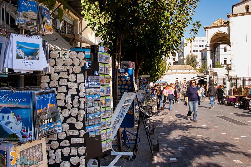 O mercado Monastiraki, em Atenas