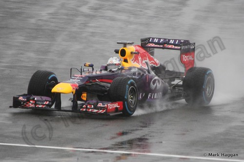 Sebastian Vettel in Free Practice 1 for the 2013 British Grand Prix