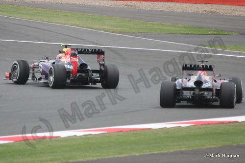 Mark Webber and Sebastian Vetel in Free Practice 2 at the 2013 British Grand Prix