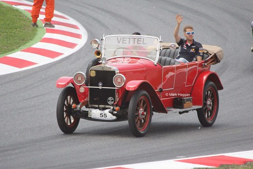 Sebastian Vettel in the Drivers' Parade at the 2013 Spanish Grand Prix