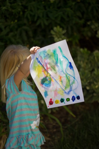 Finished DIY watercolor page - crafts for kids while camping