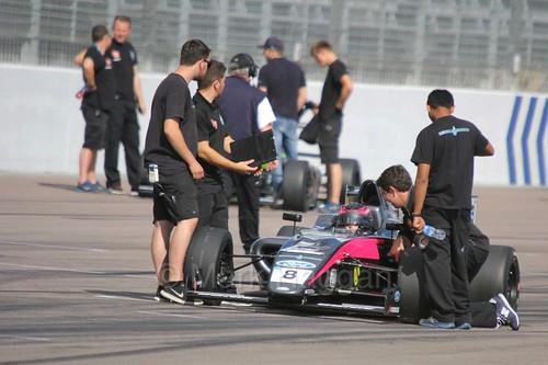Carrie Schreiner on the British F4 grid at Rockingham, August 2016