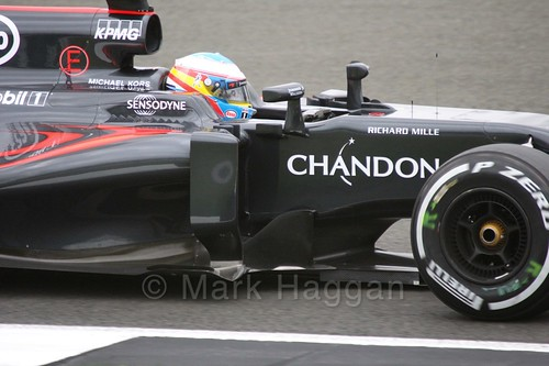Fernando Alonso in his McLaren in Free Practice 1 at the 2016 British Grand Prix