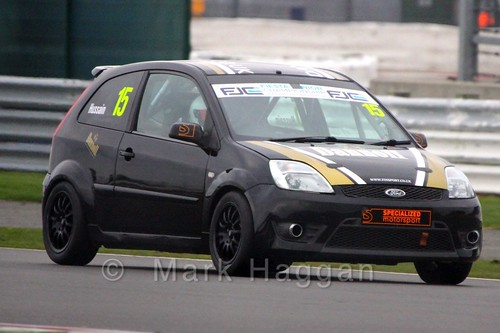 Sikander Hussain in the BRSCC Fiesta Junior Championship at Silverstone, April 2015